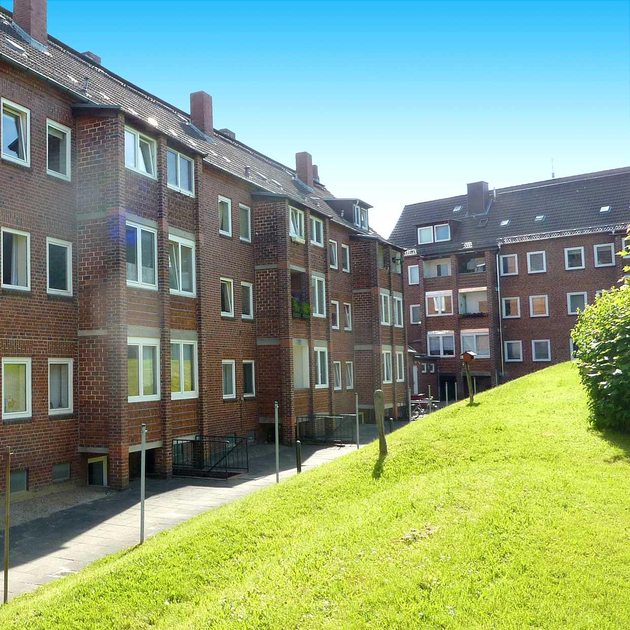 Hofansicht eines Hauses der BGH-Kiel-Hassee in der Gärtnerstraße