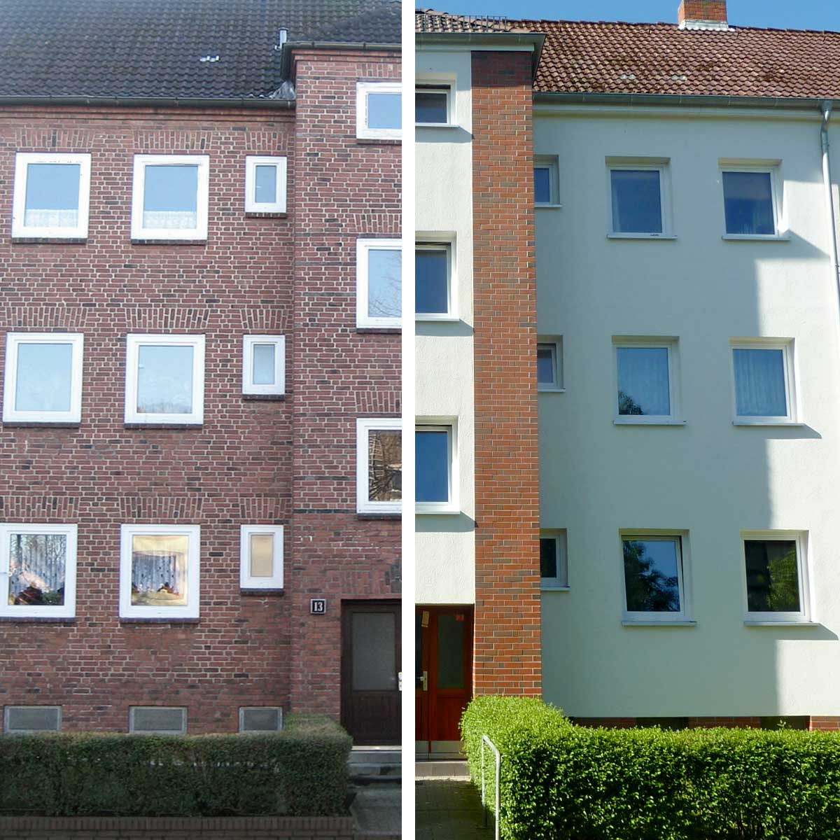 Vorher-Nachher Ansicht der energetischen Gebäudesanierung der Häuser Gärtnerstrasse der BGH-Kiel