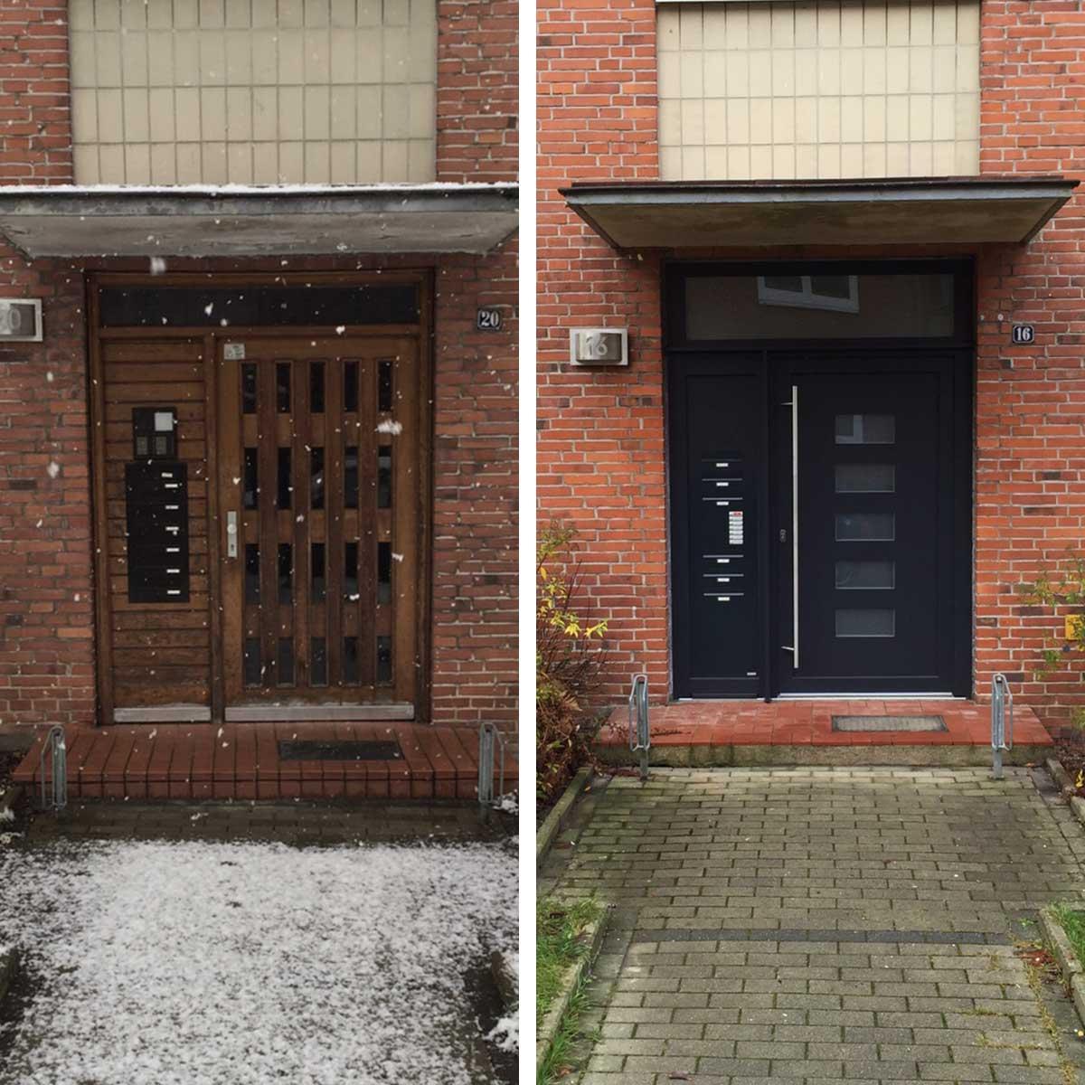 Vorher-Nachher Ansicht einer Türsanierung eins Hausesder BGH-Kiel in der Gärtnerstraße