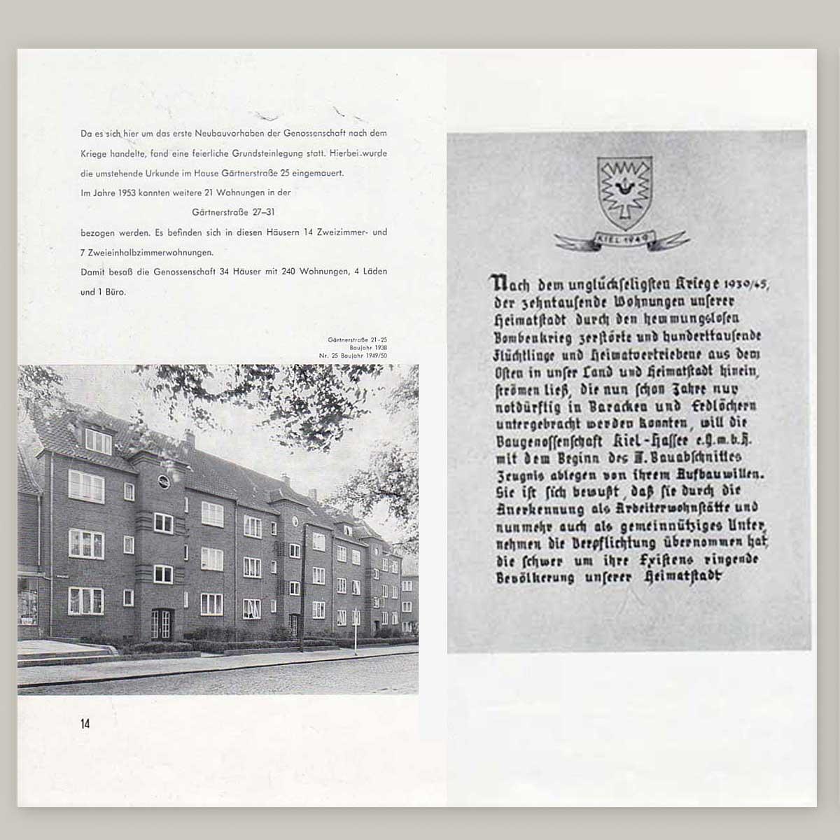 Jubiläumsschrift 25 Jahre Baugenossenschaft Kiel Hassee
